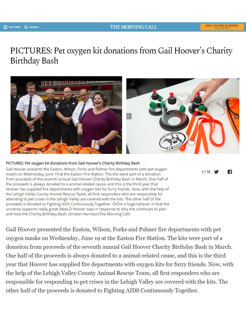 2019 Morning Call - Pet Oxygen Kit Donations From Gail Hoover's Charity Birthday Bash