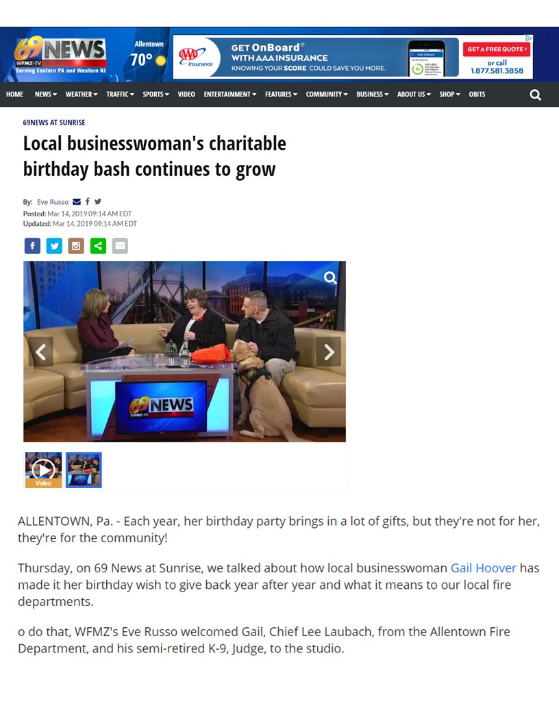 2019 WFMZ - Local Business Woman's Charitable Birthday Bash Continues To Grow